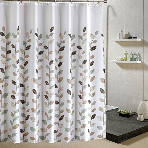Alumuk Duschvorhäng, Duschvorhang Anti-Schimmel Badewanne Vorhang aus Polyester Wasserabweisend Shower Curtain Anti-Bakteriell mit 12 Duschvorhangringen (Kleine Blätter, 220 x 200 cm)