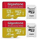 【5年保証 】Gigastone Micro SD Card 128GB マイクロSDカード UHS-I U3 Class 10 100MB/S 高速 メモリーカード Nintendo Switch 動作確認済 2pack 2個セット SD変換アダプタ付 ミニ収納ケース付 w/adapter and case 4K Ultra HD 動画