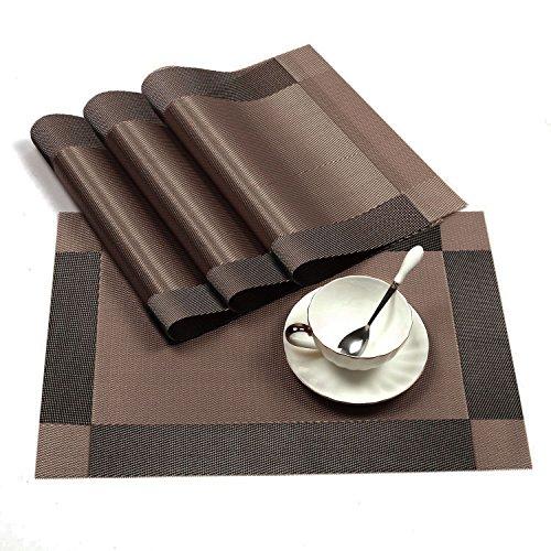 fourHeart 4Pcs Sets de Table Vinyle Antidérapant Tapis de Table PVC Lavables Pour Cuisine, Salon, Jardin ou Salle à Manger 45 x 30cm (Brun)