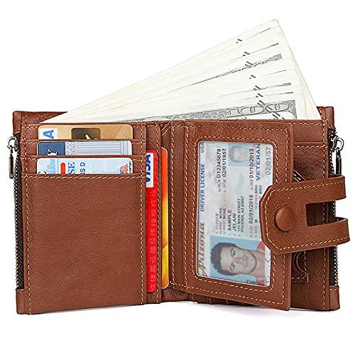 TTWLJJ Cartera Hombre,Porta Tarjetas de Crédito y Cartera Fashion Double Zipper Clutch Bag, Cartera Corta de Hombre Cartera multitarjeta,Light Brown