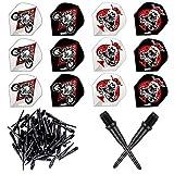ONE80 Matt Black Soft Tip 300 Pcs - Replacement Dart Point 2BA Thread - 12 Pcs Durable Extra Thick Dart Flight