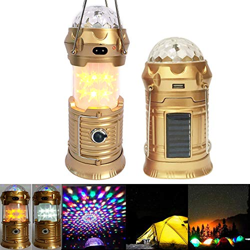4 in 1 LED Camping Lantern, Solar Outdoor Camping Light, Retractable Handheld or Hanging Star Light, Stage Light with Ultra Bright Flashlight for Camping Hiking Emergency Lights Tent Lights Parties