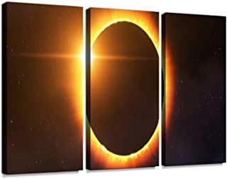 Total Solar Eclipse Print On Canvas Wall Artwork Modern Photography Home Decor Unique Pattern Stretched and Framed 3 Piece