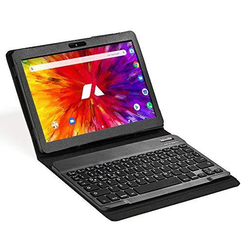 ACEPAD A130 v2021 Tablet 10,1 Zoll - Deutsche Marke - 4G LTE, 64GB Speicher, Octa-Core Boost-Prozessor, Android, IPS HD Bildschirm, WLAN, Bluetooth, GPS (Schwarz mit Bluetooth-Tastatur FIX)