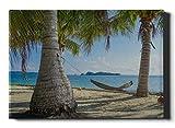 Lienzo de coche para pared, hamaca, luna de miel, vacaciones entre palmeras, imágenes artísticas para pared, 12 x 16 pulgadas (30 x 40 cm), lindas impresiones en lienzo, obras de arte para pared, imá
