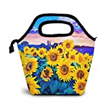 Watercolor Sunflower Painting Art Lunch Bag Insulated Tote Lunchbox Reusable Cooler Picnic School Work Travel For Men Kid Women Handbag