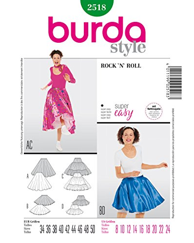 Burda 2518 Schnittmuster Kostüm Fasching Karneval Rock'n Roll (Damen, Gr. 34-50) – Level 1 super Easy