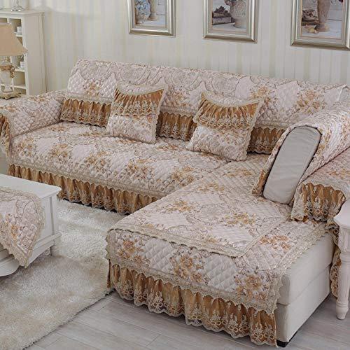 Suuki Sofa Cover slipcovers,Protector de sofá de Encaje de Moda,Funda de sofá de Esquina,Funda de sofá en Forma de L,Fundas de sofá para sofá de Tela de sofá de Cuero-C_Los 90 * 180cm + 18cm