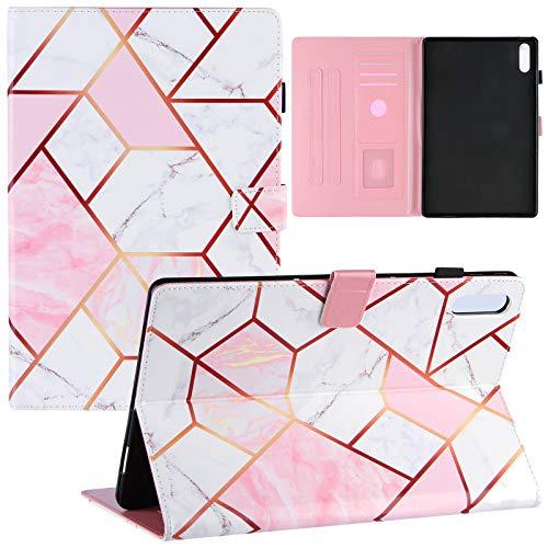ZOOMALL Funda tipo libro para Lenovo Tab P11 Pro Case 11.5' 2020 (TB-J706F / TB-J706L), con soporte para lápices de encendido y apagado automático, cuadrícula de mármol, rosa y blanco