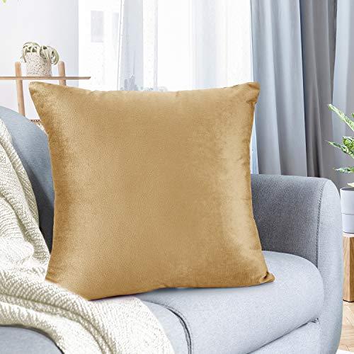 Nestl Bedding Überwurfkissenbezug, weich, quadratisch, dekorativ, Samt, Kissenbezug für Sofa, Couch, Schlafzimmer, S Modern 1 - 16x16 Kamelgold