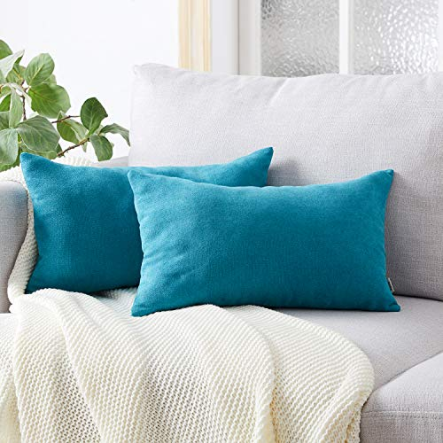 Topfinel Teal Oblong Cushion Covers 16x24 Inch Chenille Soft Decorative Throw Pillowcase for Office Sofa Bedroom Car 40cmx60cm,Pack of 2