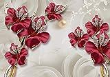 wandmotiv24 Fototapete Blumen Gold XXL 400 x 280 cm - 8 Teile Fototapeten, Wandbild, Motivtapeten, Vlies-Tapeten Schmetterling, Diamanten M1822