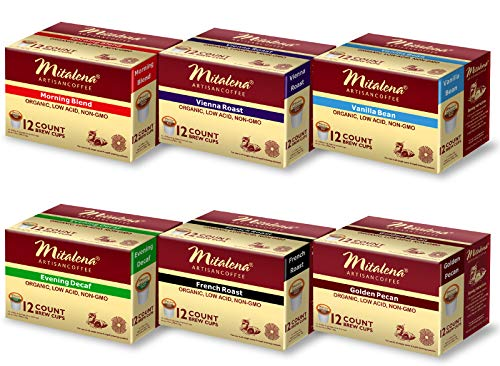Mitalena Brand - 72 ct. Variety Pack Organic Arabica Low Acid Coffee Pods
