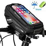 WACCET Handyhalterung Fahrrad Wasserdicht Lenkertasche Fahrrad mit Touch-Screen fahradtasche für Lenker Handytasche Fahrrad für iPhoneXS MAX/XR/X/8/7/Samsung S9/S8 bis zu 6,5' Smartphone