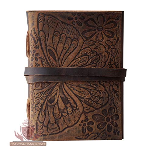 Handmade Leather Journal Butterfly Flower Embossed Deckle Edge Vintage Paper Writing Diary Office Notebook Handbook Sketchbook 5 x 7 inches for Men and Women