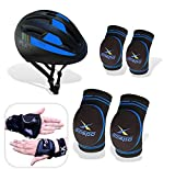 1 pair wrist, 1 pair knee pads & 1 pair elbow pads (Left and right), with 1 Helmet Made of high-density strengthen foam, good elasticity, breathable fabric keeps skin dry, and more comfortable. Ergonomic design, super lightweight, provides freedom of...