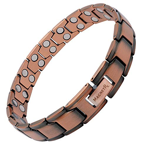 MagnetRX Pure Copper Magnetic Therapy Bracelet | Arthritis Pain Relief & Carpal Tunnel Relief Ultra Strength Copper Magnetic Bracelets for Men (Leo Style)