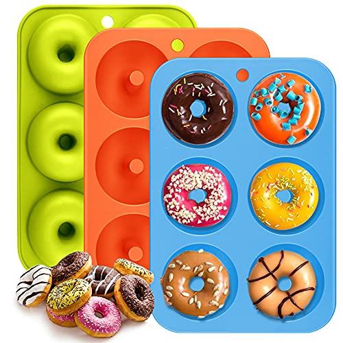 Moules à Donuts en Silicone,ZOLGINAH Lot de 3 Moules à Donuts Antiadhésif à 6 Trous pour Muffins Bagels Biscuits Gâteaux lAnniversaire et la Fabrication de Beignets,Vert Orange Bleu