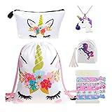 DRESHOW 5 Pack Cute Unicorn Drawstring Backpack/Make Up Bag/PU Coin Purse Clutch...