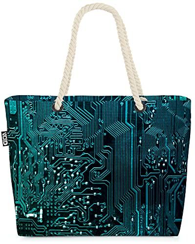 VOID Computer Prozessor Chip Strandtasche Shopper 58x38x16cm 23L XXL Einkaufstasche Tasche Reisetasche Beach Bag