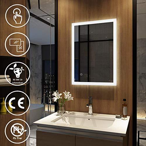 Meykoers Wandspiegel Badezimmerspiegel LED Badspiegel mit Beleuchtung 50x70x4,5cm mit Touch-Schalter, Lichtspiegel Kaltweiß 6400K