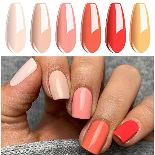 Vishine Vernis Gel Semi Permanent, Vernis à Ongles Lot de 6 Couleur Pêche Orange Nu UV LED Gel Polish Varnish Manucure Nail Art Coffret 8ml