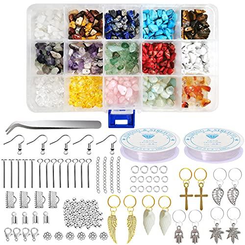 Edelsteine mit Loch,Naturform Perlen,Gemstone Chips Beads,Edelsteinperlen Naturform Perlen,Gemstone Beads,Stone Beads,Edelsteinperlen, 15 Farben Edelsteine Beads 5-7mm und 20 Herstellungswerkzeuge