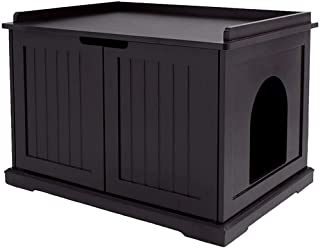 unipaws Designer Cat Washroom Storage Bench, Litter Box Cover with Sturdy Wooden Structure, Spacious Storage, Easy Assembl...