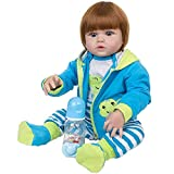 YIHANGG 58cm Moda Vinilo De Silicona Completo Muñecas Reborn Bebés Fiel A Me Gusta Socio Chico Niño Reborn Regalos De Cumpleaños para Niños,Brown Hair
