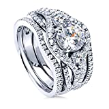 BERRICLE Rhodium Plated Sterling Silver Round Cubic Zirconia CZ 3-Stone Anniversary Engagement Wedding Ring Set 2.36 CTW Size 8.5