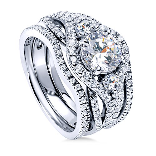 BERRICLE Rhodium Plated Sterling Silver Round Cubic Zirconia CZ 3-Stone Anniversary Engagement Wedding Ring Set 2.36 CTW Size 8