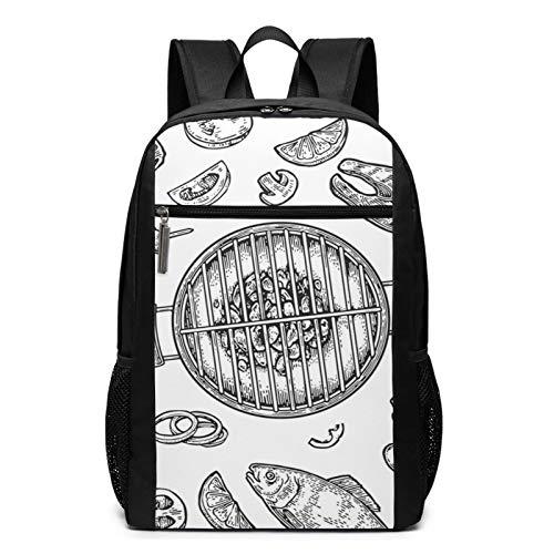 Sac à Dos Décontracté Scolaire Cartable Sacs école pour Garçons Filles Homme Femme Sac De Camping Voyage Laptop Backpack Barbecue Grill Vue de Dessus Charbon