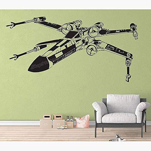 Hollywood Sci-Fi Movie Star X-Wing Wars Fighter Nave espacial Avión Galaxy Pegatina de pared Vinilo Art Calcomanía Niño Niños Fans Dormitorio Sala de estar Estudio Decoración para el hogar M