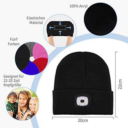 Deilin LED Mütze mit Licht, Beleuchtete Mütze Aufladbar USB für Männer und Frauen, Einstellbare Helligkeit Stirnlampe Winter Beanie Mütze mit Licht, Unisex Winter Wärmer Strickmütze mit Licht - 6