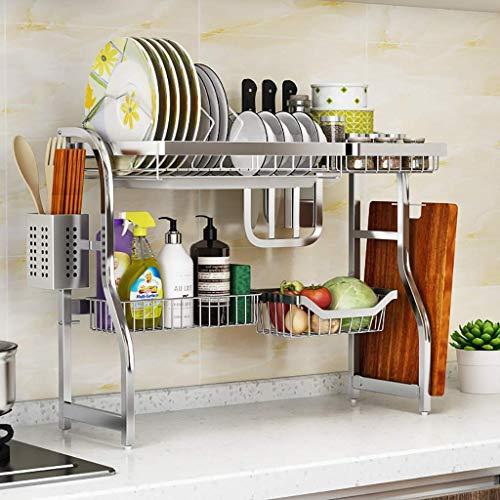 Estante for platos, En el estante de secado plato fregadero, cocina de acero inoxidable 304 de drenaje rack Vajilla Escurridor Organizador, 2 tamaños (Tamaño: fregadero de un seno-65 * 23 * 51cm) ZDWN