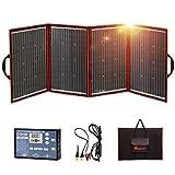 DOKIO Kit Panel Solar Plegable 200W 12V monocristalino portátil, plegable, imermeable,ideal para la energía solar al aire libre, embarcaciones, camping, caravanas o autocaravanas.para batería de 12V