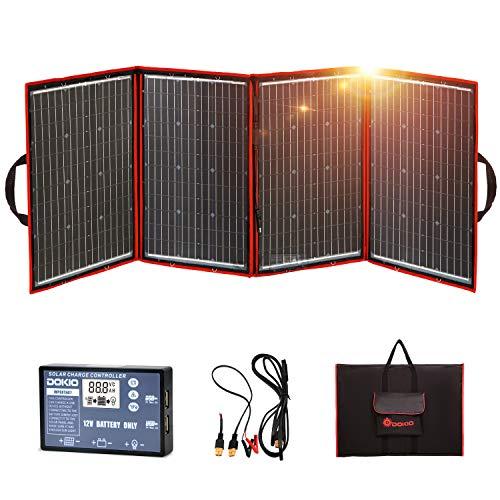 DOKIO 200W Klappbares Solarpanel mit Tasche Mobiles 12V Outdoor Solarpanel - faltbares Solarmodul Integrierter Laderegler mit USB-Buchse (5V/1,2A)