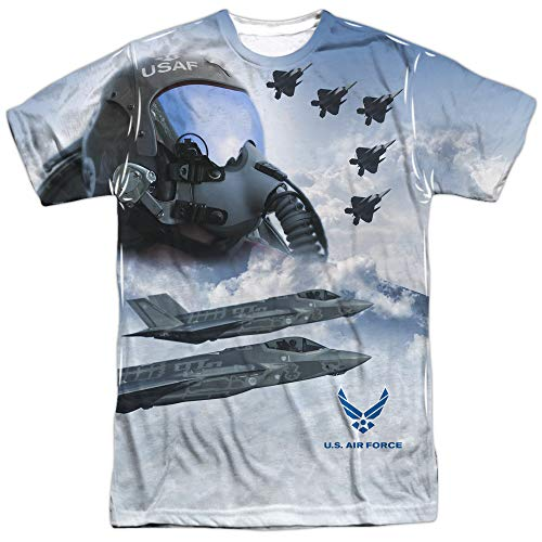 Air Force - - T-shirt pilote pour hommes (Front / Back Imprimer), Large, Sublimate White