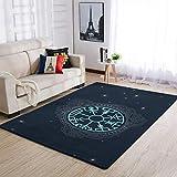 IOVEQG Area Rugs Viking Navegación Brújula de Islandia antideslizante alfombra de decoración del hogar para niños habitación del cuarto de bebé, color blanco 50 x 80 cm