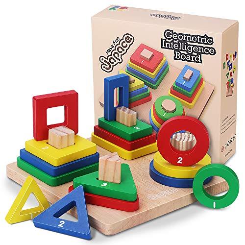 Holz Sortierspiel für Kinder, Holzpuzzles Holzsteckspiel Geometrisches Formen, Farben und Größe Lernen, Montessori Lernspielzeug sichere Geschenk für Junge, Mädchen und Babys