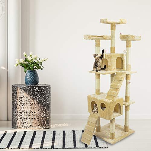 tiragraffi per gatti adulti 170cm Tiragraffi Gatto albero 170Cm con Cuccia per Gatti Albero Parco giochi gioco tira graffi per Gatto colore Beige- AQPET