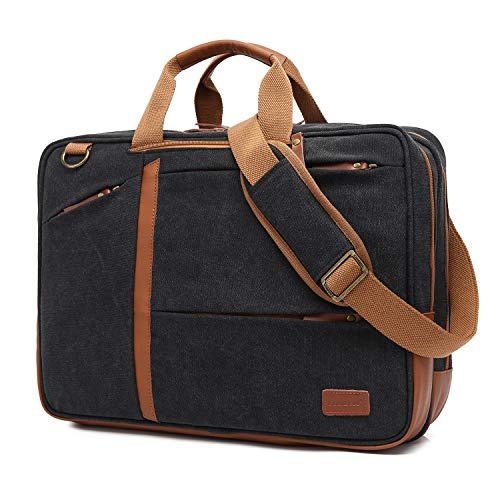CoolBELL 17,3 Zoll umwandelbar Aktentasche Rucksack Messenger Bag Mehrzweck Umhängetasche Business Travel Backpack Notebook Schultertasche Laptop Tasche für Laptop Herren(Canvas Schwarz)