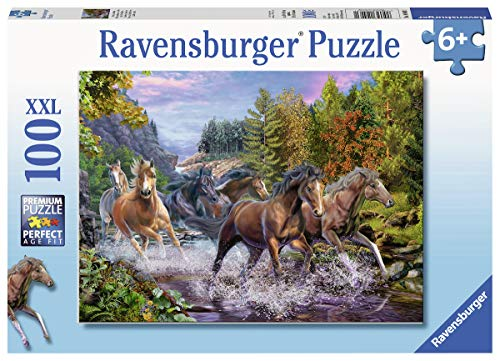 10403  Rushing River Horses Puzzle de 100 Piezas Extra Grandes para niños a Partir de 6 años, Multicolor (10403)