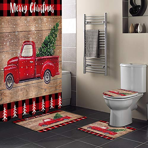 4 Pcs Shower Curtain Sets with Non-Slip Rugs, Toilet Lid Cover, Bath Mat Merry Christmas Red Truck Pull Xmas Tree on Retro Wooden Board Bathroom Decor Waterproof Shower Curtain with 12 Hooks