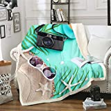 Manta de forro polar para niños, niñas, verano, vacaciones, decoración de felpa, patrón de naturaleza, manta difusa para sofá cama, cama doble, 156 x 188 cm