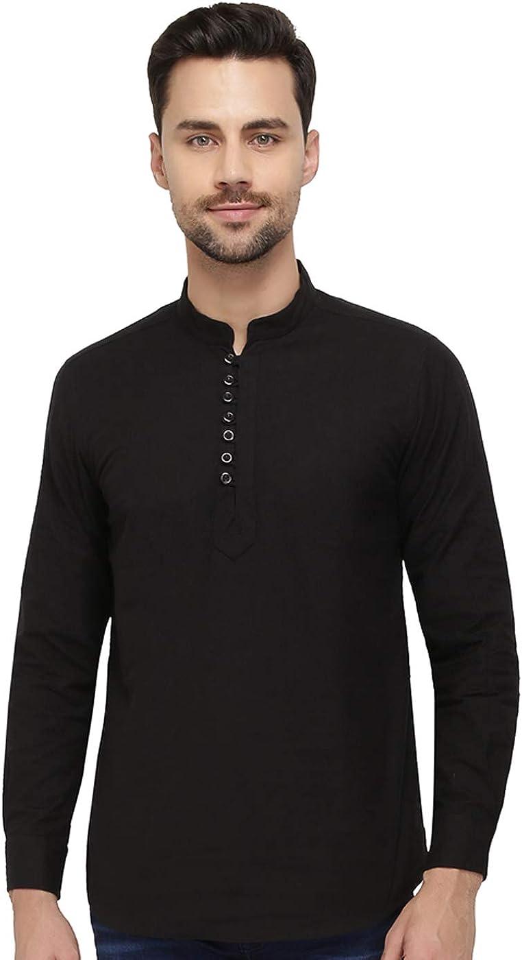 nick&jess Camisa Kurta corta de lino de algodón negro para hombre con cuello de mandarín