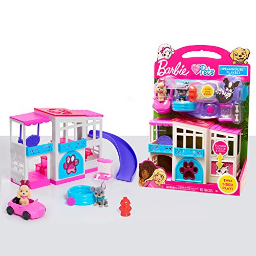 Barbie Pet Dreamhouse 2-Sided Playset, 10-pieces Include Pets and Accessories