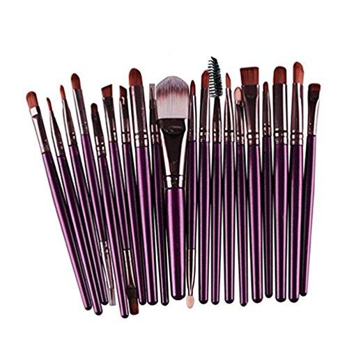 Dosige 20 pcs Set Pinceaux Professionnel Pinceaux de Maquillage Yeux Brosse de Brush Cosmétique - Violet et Marron
