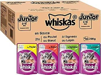 Whiskas Junior - Sachets Fraîcheur pour Jeune Chat (2-12 Mois), 84 Sachets (84 x 100g) + Catisfactions Friandises pour Chat – Goût Poulet – 4 sachets de 180 g