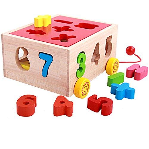 Jouets FEI Puzzle de Trieuse de Forme en Bois Début Éducation (Couleur : B (15 Blocks))